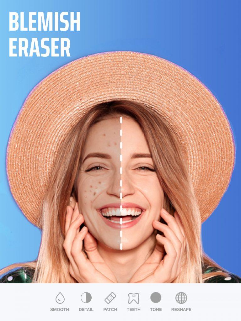 Blemish eraser in Selfie Editor app