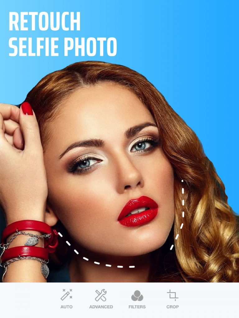 Retouch photo with Selfie Editor app