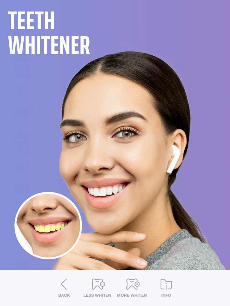 whiten teeth with selfie editor app